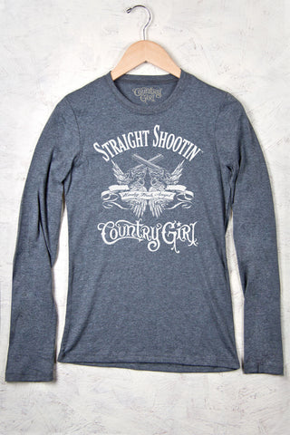 Deep Heather - Juniors Straight Shootin' Fitted Long Sleeve Tee