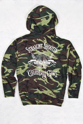 Green Camo - Women's Straight Shootin' Relaxed Camo Pullover Hoodie