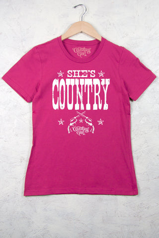 Hot Pink - Women's She's Country Short Sleeve Tee