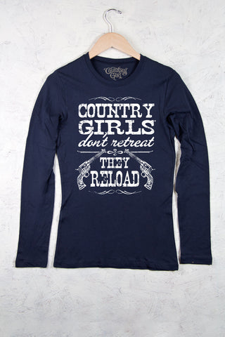 Navy - Juniors Reload Fitted Long Sleeve Tee
