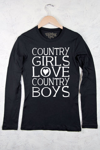 Black - Juniors Heart Country Boys™™ Fitted Long Sleeve Tee