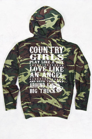 Green Camo - Women's Big Trucks Relaxed Camo Pullover Hoodie