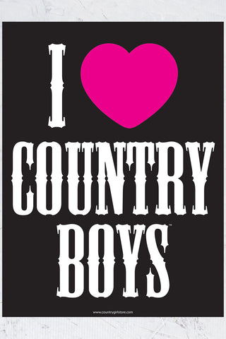"Country Girl® - I Heart Country Boys™™ 18"" x 24"" Poster"