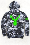 Urban Camo - Women's Neon Green Deer Head Relaxed Camo Pullover Hoodie