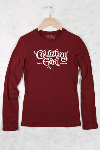 Cardinal Red - Juniors Logo Fitted Long Sleeve Tee