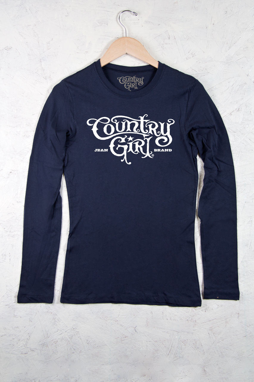 Navy - Juniors Logo Fitted Long Sleeve Tee