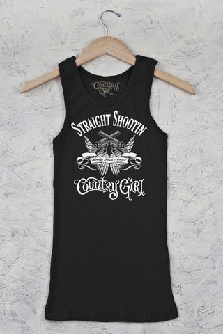 Black - Juniors Straight Shootin' Fitted Rib Tank