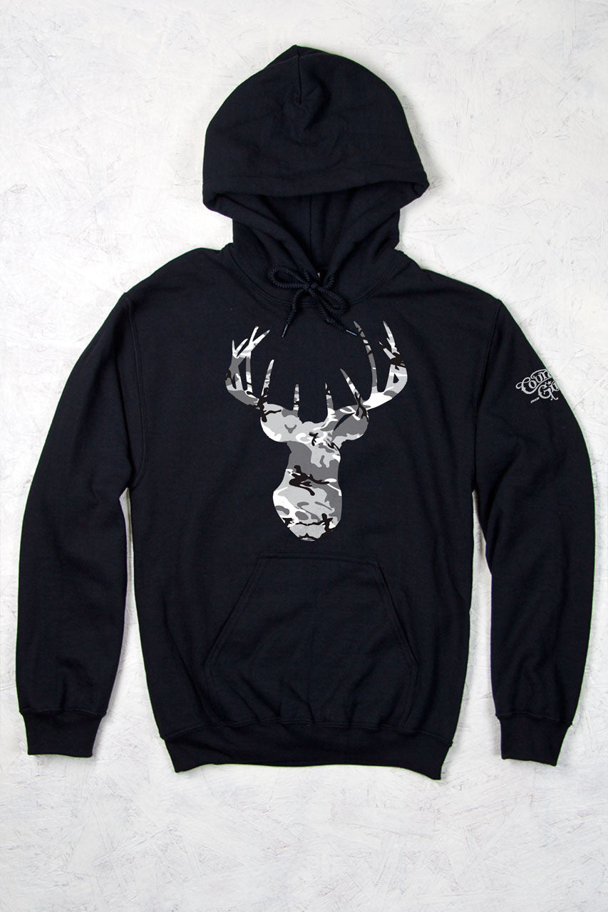 Black - Women's Grey Camo Deer Head Relaxed Pullover Hoodie