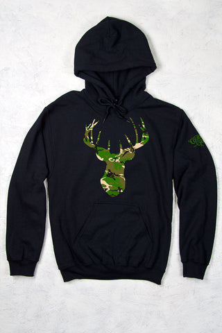 Black - Women's Camo Deer Head Relaxed Pullover Hoodie