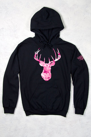 Black - Women's Pink Camo Deer Head Relaxed Pullover Hoodie