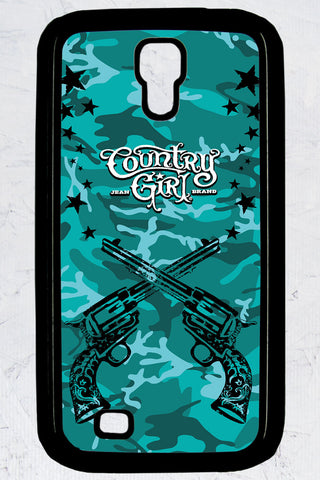 Country Girl® - Teal Camo Crossed Guns Galaxy S4 Phone Case