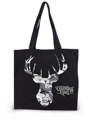 Grey Camo Deer Head Lightweight Tote Bag