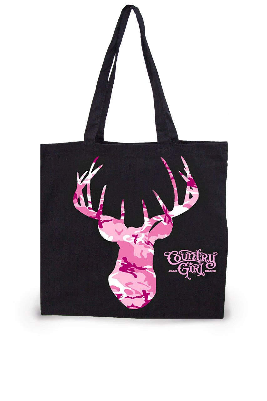 Pink Camo Deer Head Lightweight Tote Bag