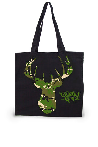 Green Camo Deer Head Lightweight Tote Bag