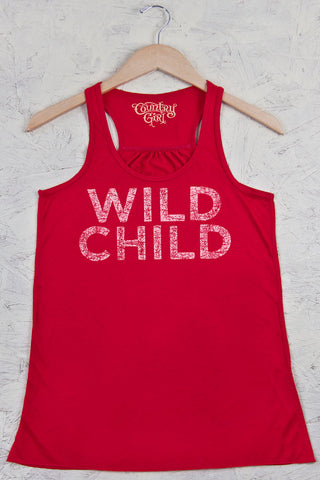 Red - Juniors Wild Child Distress Flowy Racerback Tank