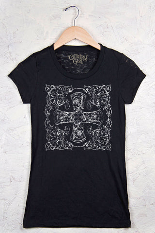 Black - Juniors Distressed Cross Burnout Tee