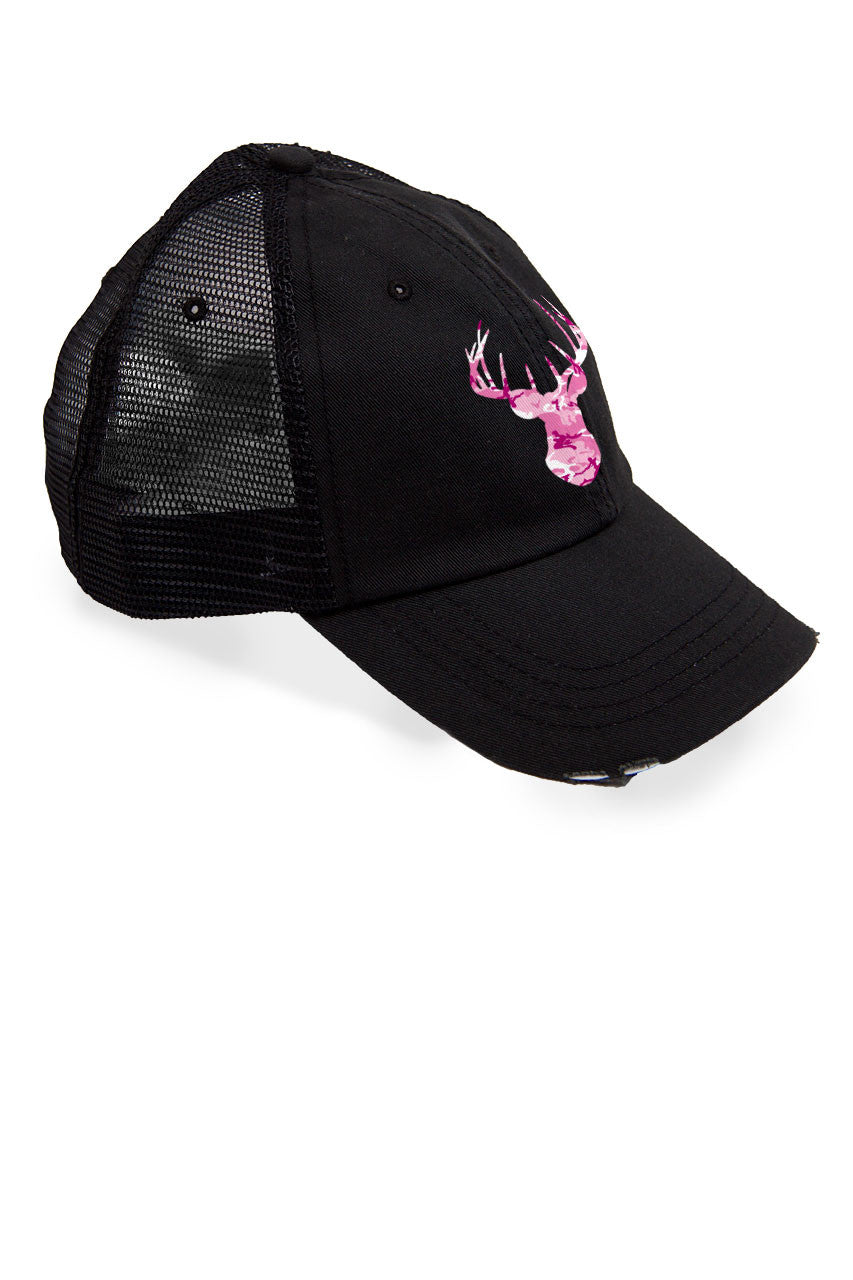 Women's Deer Head Pink Camo Trucker Hat