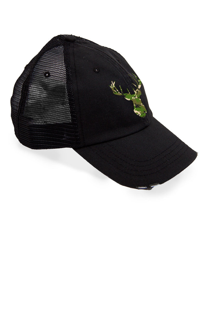 Women's Deer Head Green Camo Trucker Hat