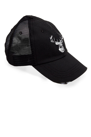 Women's Deer Head Grey Camo Trucker Hat
