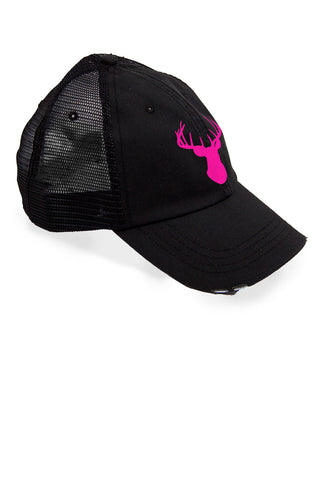 Women's Deer Head Pink Trucker Hat