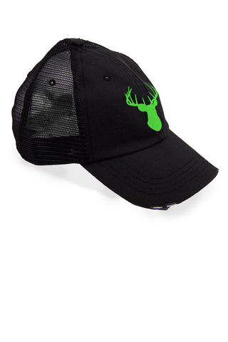 Women's Deer Head Neon Green Trucker Hat