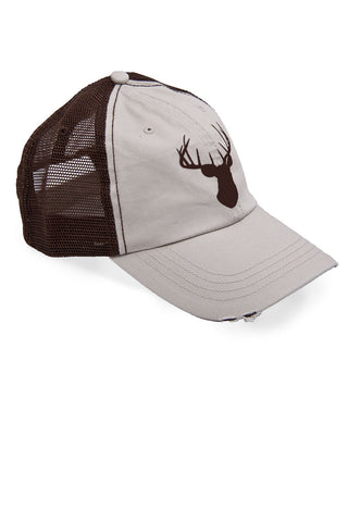 Women's Deer Head Brown Trucker Hat