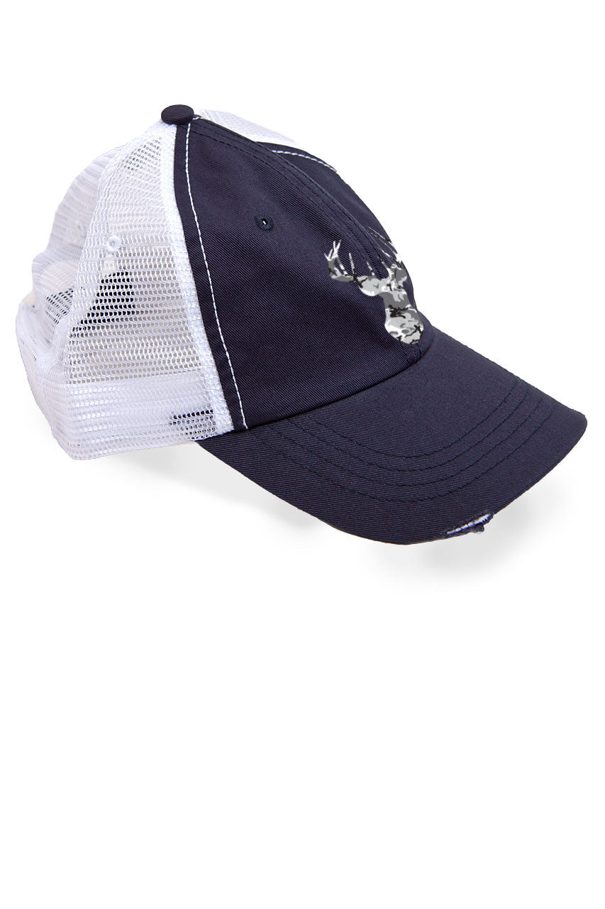 Women's Grey Camo Deer Head Trucker Hat