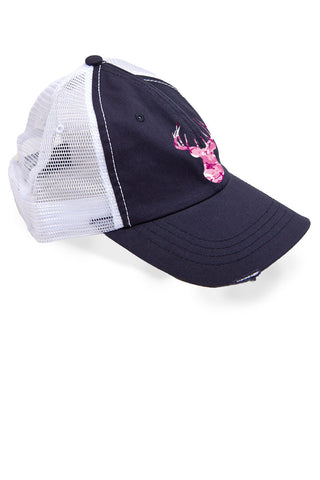 Women's Pink Camo Deer Head Trucker Hat