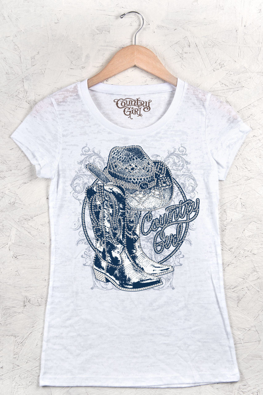 White - Juniors Boots Rhinestones Burnout Tee