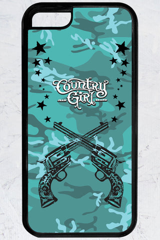 Country Girl® - Teal Camo Crossed Guns iPhone 5C Case