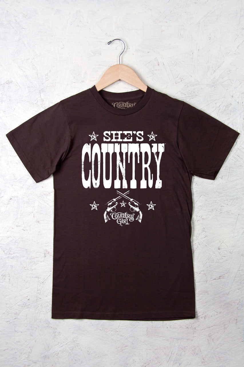 Chocolate - Women's She's Country Full Figure Short Sleeve Tee