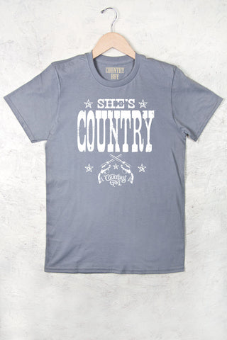 Storm Grey - Women's She's Country Full Figure Short Sleeve Tee