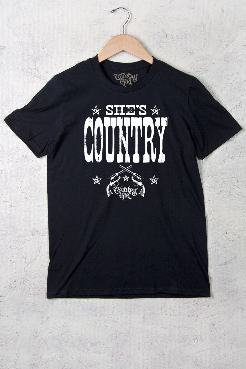 Black - Women's She's Country Full Figure Short Sleeve Tee