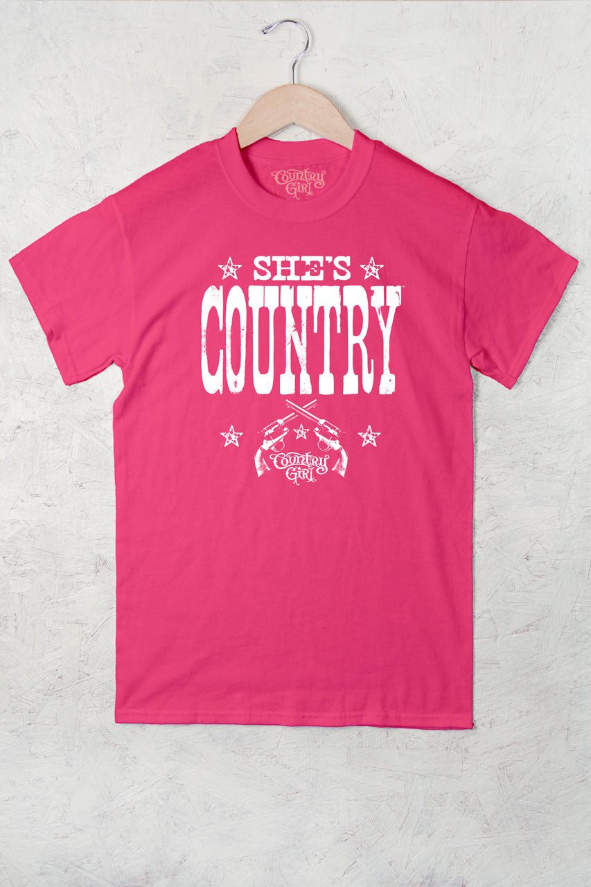 Hot Pink - Women's She's Country Full Figure Short Sleeve Tee