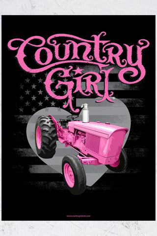 "Country Girl® - Pink Tractor 18"" x 24"" Poster"