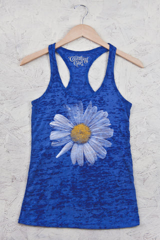 Royal - Juniors Daisy Burnout Racerback Tank