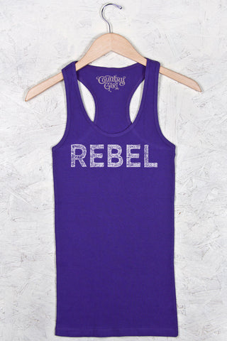 Athletic Purple - Women's Rebel Distress w/Nape Fitted Racerback Tank