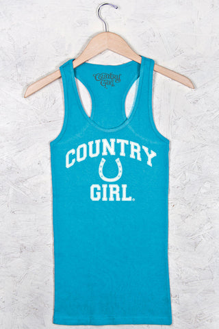 Turquoise - Women's Athletic Horseshoe Fitted Racerback Tank