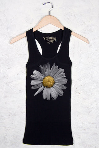 Black - Women's Daisy w/Nape Fitted Racerback Tank
