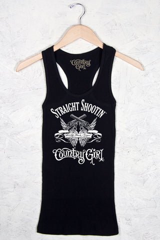 Black - Women's Straight Shootin' Fitted Racerback Tank