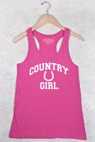 Hot Pink - Women's Athletic Horseshoe Flowy Racerback Tank