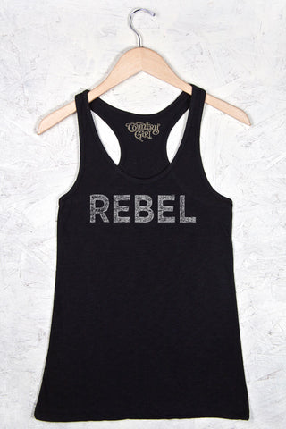 Black - Women's Rebel Flowy Racerback Tank