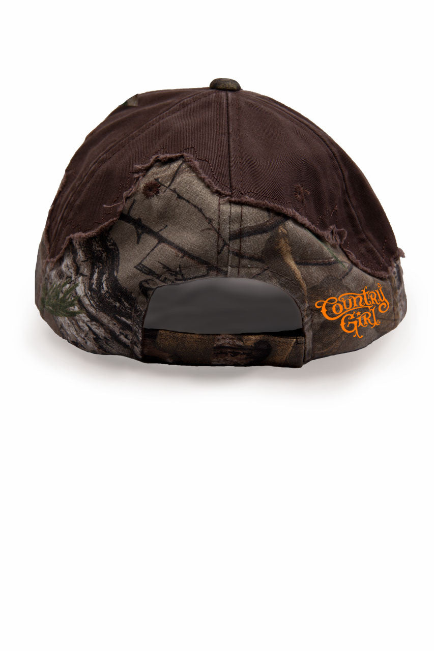 Country Girl® - Women's Crossed Guns Frayed Mossy Oak® Cap
