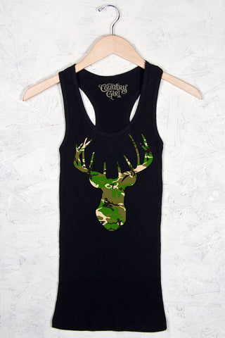 Black - Women's Deer Head Camo Fitted Racerback Tank