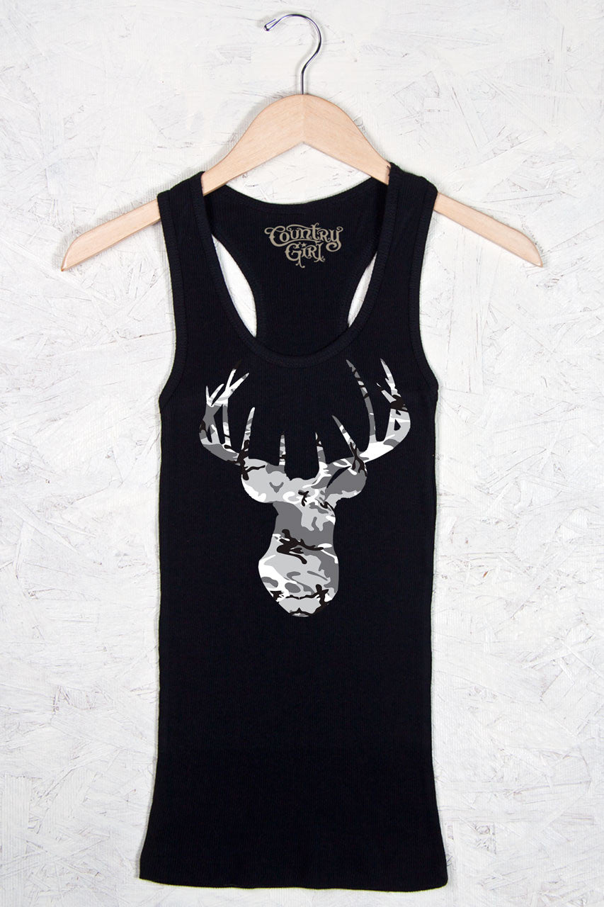 Black - Women's Camo Deer Head Fitted Racerback Tank