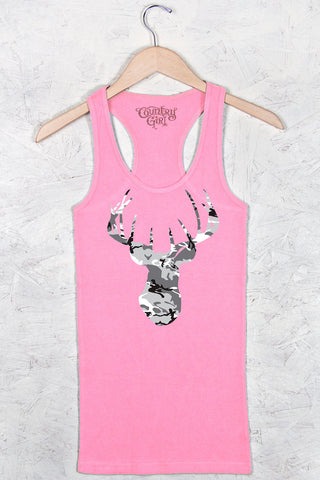 Neon Pink - Women's Camo Deer Head Fitted Racerback Tank