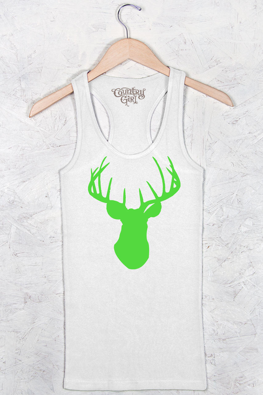 White - Women's Neon Green Deer Head Fitted Racerback Tank