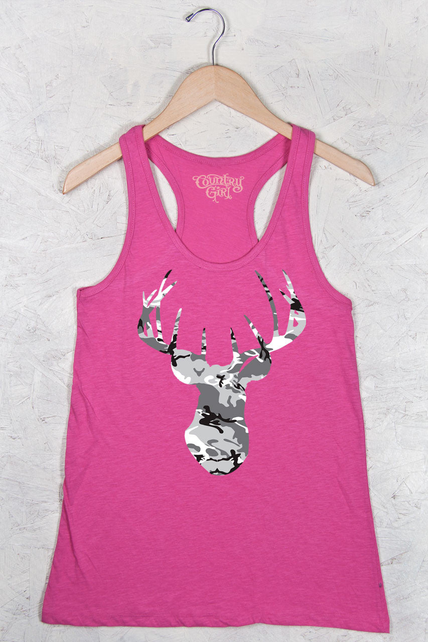 Hot Pink - Women's Camo™ Deer Head Flowy Racerback Tank
