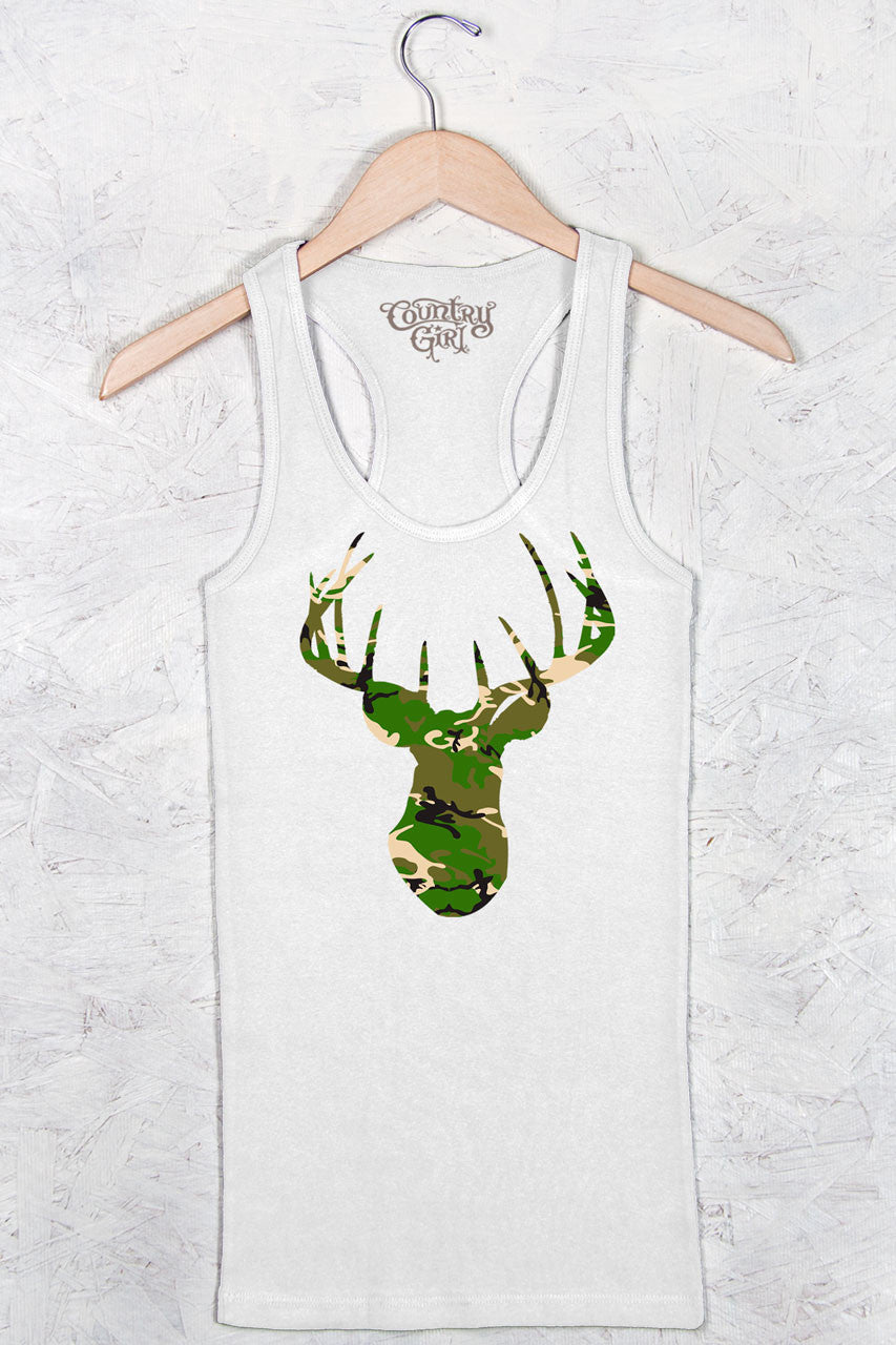 White - Women's Deer Head Camo Fitted Racerback Tank