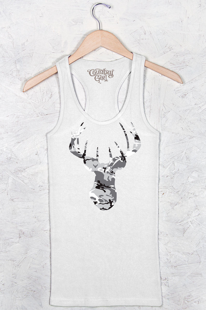 White - Women's Camo Deer Head Fitted Racerback Tank